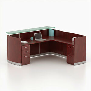 Reversible Mahogany Laminate L Shape Reception Desk Textured Glass Counter