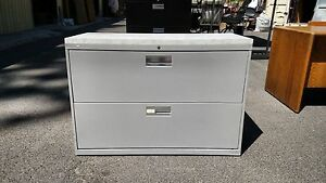 file Cabinet 2 Drawer Lateral 42 w Light Gray W lock Honwe Deliver Locallynorca