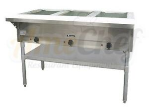3 Bay Open Well Steam Table Electric Stainless Steel Adcraft St 120 3
