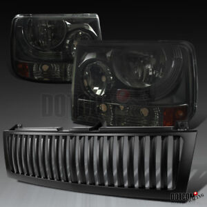 Chevy 1999 2002 Silverado 1500 2500 Smoke Headlights Black Bumper Hood Grille
