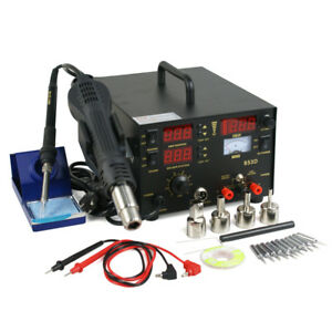 3in1 Smd Digtal Hot Air Rework Station Soldering Iron Dc Power Supply 853d