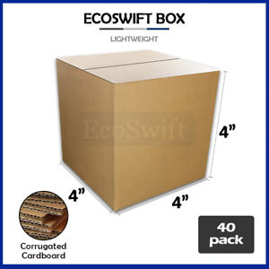 40 4x4x4 Cardboard Packing Mailing Moving Shipping Boxes Corrugated Box Cartons