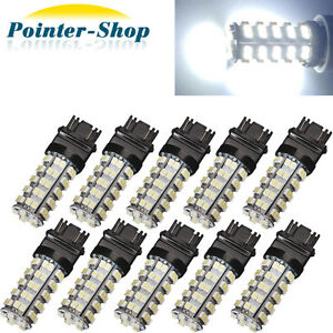 10 X 6000k White 3157 68 Smd Led Tail Brake Stop Light Bulbs T25 3057 3457 4157