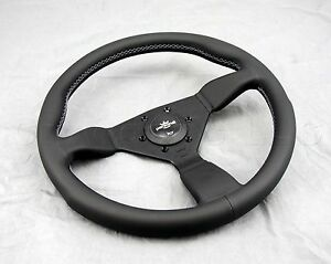 Personal Grinta Steering Wheel 350mm Black Leather Grey Stitching Black Spokes