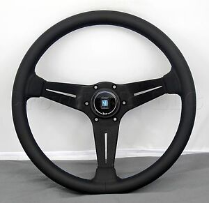 Nardi Steering Wheel Deep Corn 350 Mm Type A Horn Black Smooth Leather Blue