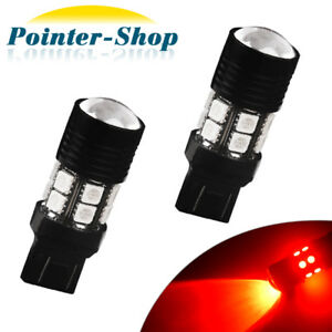 2x Red 7443 7440 High Power 7w Chips Brake Stop Tail Parking Led Light Bulbs 12v