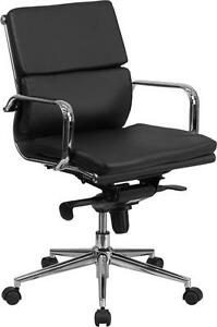 Lot Of 10 Mid back Black Leather Conference Table Chair W Synchrotilt Mechanism