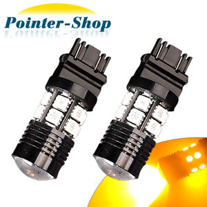 2 X Amber 3157 3156 High Power 7w 12 Chips Led Tail Brake Light Bulbs 3457 4157