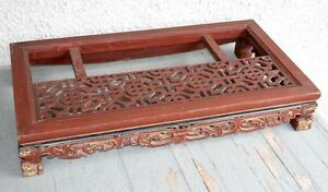 Large Antique Chinese Hand Carved Dragon Wood Table Lattice Panel Pedestal Rare