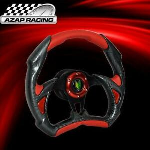 Universal 320mm Battle Steering Wheel Black Carbon W Red Pvc 6 Hole Bd Logo