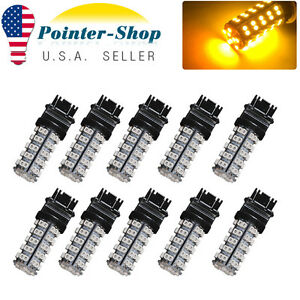 10x Amber Yellow 3157 3156 68smd Turn Signal Tail Brake Stop Led Light Bulb 4157