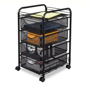 Filing Cabinet File Storage Mesh Cart With 4 Drawers Mobile In Black