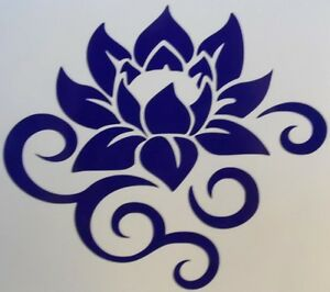 Lotus Flower Scroll Silhouette Car Truck Window Vinyl Decal Sticker Choose Color