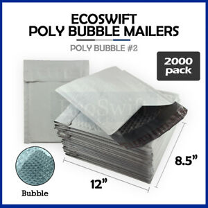 2000 2 8 5x12 Poly Bubble Mailers Padded Envelope Shipping Supply Bags 8 5 X 12