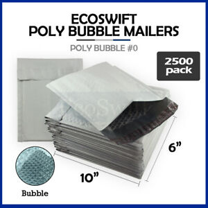 2500 0 6x10 Poly Bubble Mailers Padded Envelope Shipping Supply Bags 6 X 10