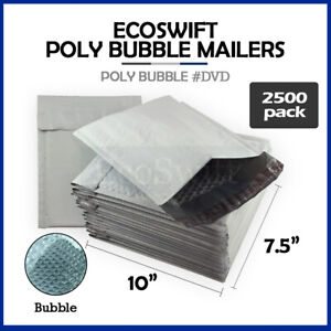 2500 0 7 5x10 Poly Bubble Mailers Padded Envelope Shipping Bags Dvd 7 5 X 10