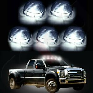 5x Smoke Roof Running Lights Cab Marker Cover white 194 Led Bulbs For Ford 99 16