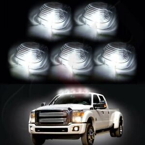 5 Clear Roof Running Lights Cab Marker Cover Xenon White 194 Led Bulbs For Ford