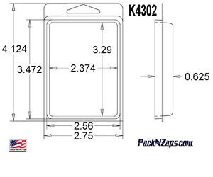 K4302 875 4 h X 3 w X 0 6 d Clamshell Packaging Clear Plastic Blister Pack