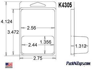 K4305 875 4 h X 3 w X 1 312 d Clamshell Packaging Clear Plastic Blister Pack