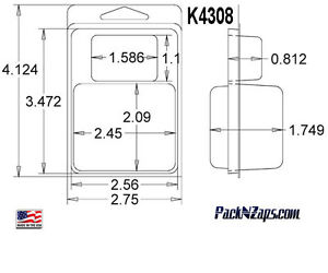 K4308 875 4 h X 3 w X1 749 d Clamshell Packaging Clear Plastic Blister Pack