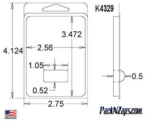 K4329 975 4 h X 3 w X 0 5 d Clamshell Packaging Clear Plastic Blister Pack