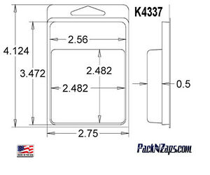 K4337 875 4 h X 3 w X 0 5 d Clamshell Packaging Clear Plastic Blister Pack