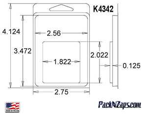 K4342 1175 4 h X 3 w X 0 13 d Clamshell Packaging Clear Plastic Blister Pack