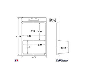 K4360 875 4 h X 3 w X 1 312 d Clamshell Packaging Clear Plastic Blister Pack