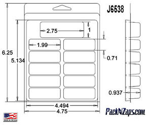 J6538 275 6 h X 4 8 w X0 94 d Clamshell Packaging Clear Plastic Blister Pack