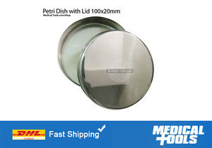 06 Petri Dishes With Lid Stainless Steel Non Rusting 100x20mm Lab scientific