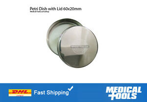 Petri Dishes With Lid X 6 Stainless Steel Non Rusting 60x20mm Lab scientific
