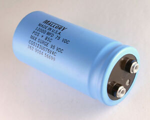Mallory 12000uf 75v Large Can Electrolytic Capacitor Cgs123u075v4c