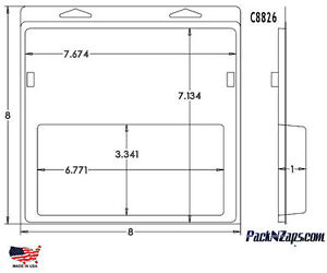 C8826 115 8 h X 8 w X 1 d Clamshell Packaging Clear Plastic Blister Pack