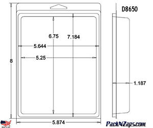 D8650 200 8 h X 6 w X 1 187 d Clamshell Packaging Clear Plastic Blister Pack