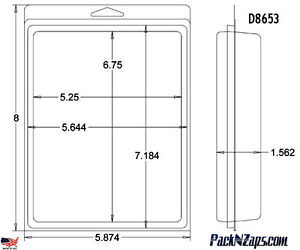 D8653 200 8 h X 6 w X 1 562 d Clamshell Packaging Clear Plastic Blister Pack