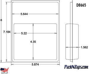 D8665 200 8 h X 6 w X 1 562 d Clamshell Packaging Clear Plastic Blister Pack