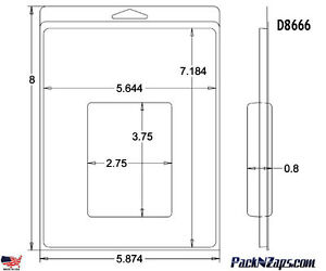 D8666 200 8 h X 6 w X 0 8 d Clamshell Packaging Clear Plastic Blister Pack