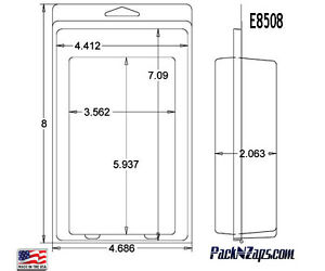 E8508 250 8 h X 4 7 w X 2 06 d Clamshell Packaging Clear Plastic Blister Pack