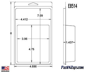E8514 250 8 h X 4 7 w X 1 4 d Clamshell Packaging Clear Plastic Blister Pack