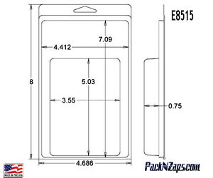 E8515 250 8 h X 4 7 w X 0 8 d Clamshell Packaging Clear Plastic Blister Pack