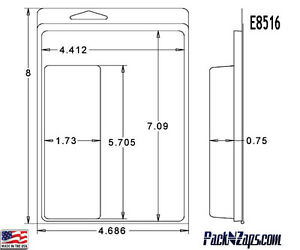 E8516 250 8 h X 4 7 w X 0 8 d Clamshell Packaging Clear Plastic Blister Pack