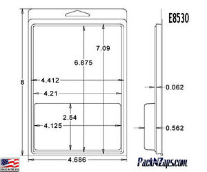 E8530 250 8 h X 4 7 w X 0 6 d Clamshell Packaging Clear Plastic Blister Pack