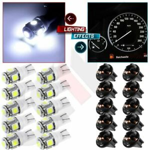10x Super White T10 194 Led Bulbs Instrument Gauge Cluster Dash Light W Sockets