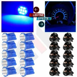 10pcs Blue T10 194 168 Led Bulbs Instrument Gauge Cluster Dash Light W Sockets