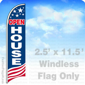 Open House Windless Swooper Flag Feather Banner Sign 2 5 x11 5 Usa Bb