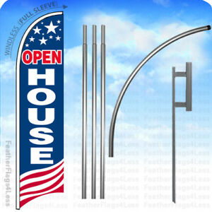 Open House Windless Swooper Flag 15 Kit Feather Banner Sign Usa Bb