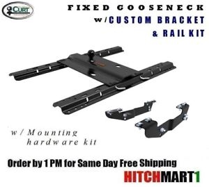 Curt 25k Bent Plate Gooseneck Hitch W Custom Brackets Rails 16418 16055pk