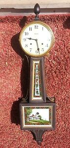 Antique Mahogany Waterbury Willard No 5 8 Day Time Strike Banjo Clock C1910