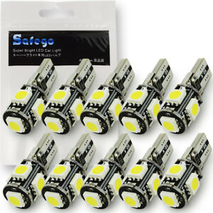 Safego 10x T10 White Led Canbus Error Free 5smd Car Wedge Light Bulb 168 194 W5w